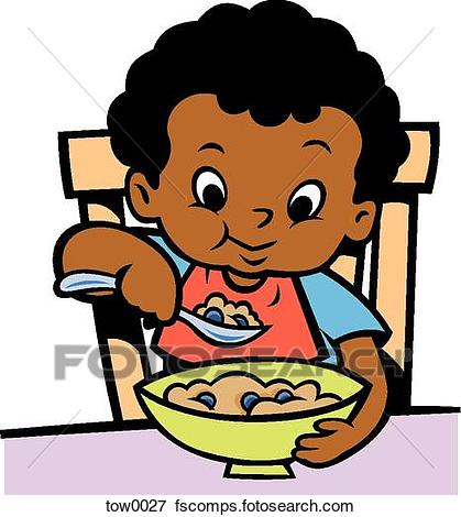 419x470 Stock Illustration Of Little Boy Eating Cereal Tow0027