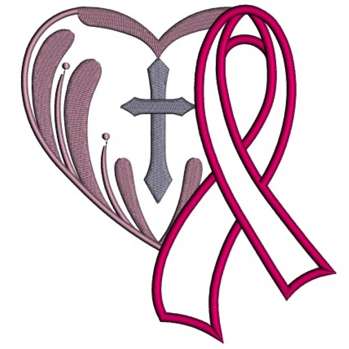 700x700 Cancer Awareness Ribbon With A Cross Inside A Heart Applique