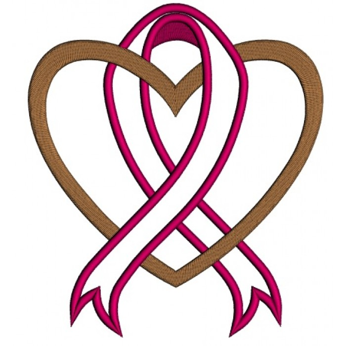 700x700 Cancer Awareness Ribbon With Heart Applique Machine Embroidery