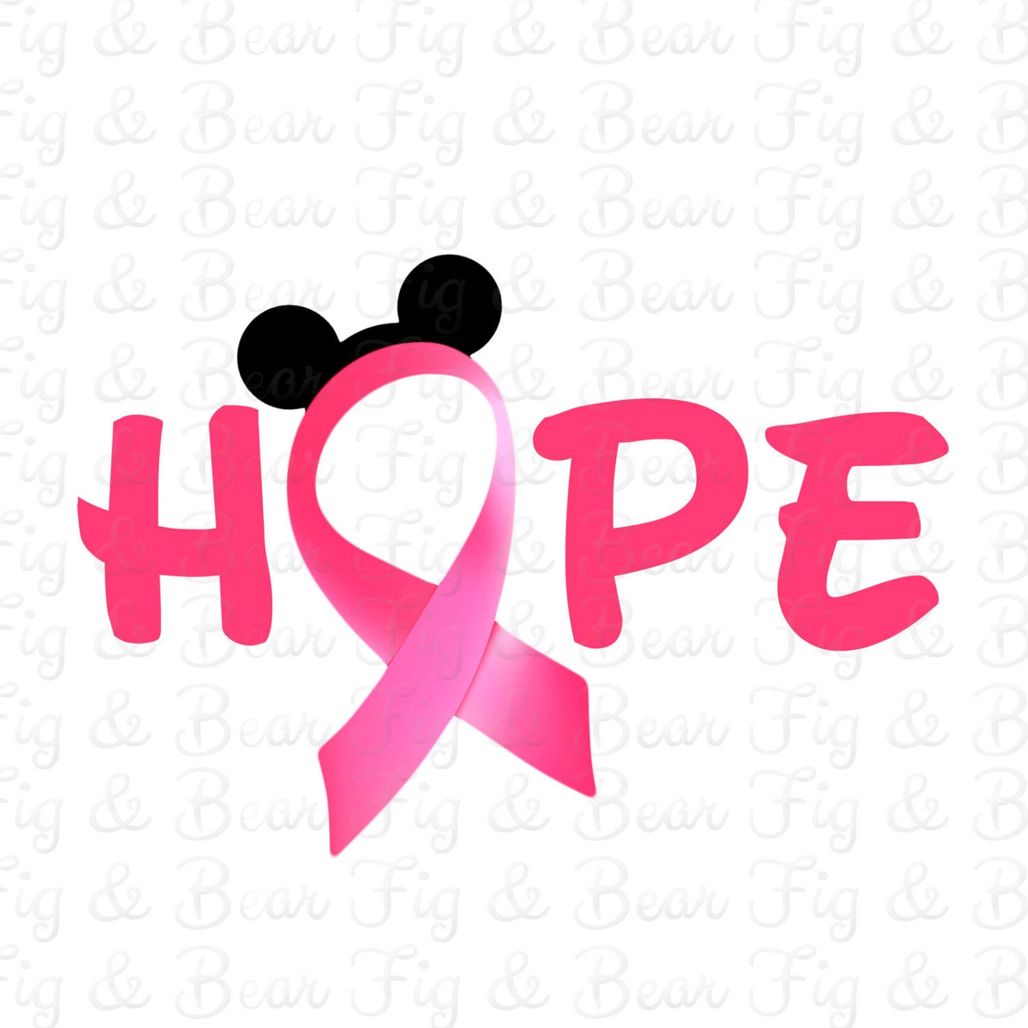 1500x1500 Disney Breast Cancer Awareness Pink Ribbon Mickey Mouse T