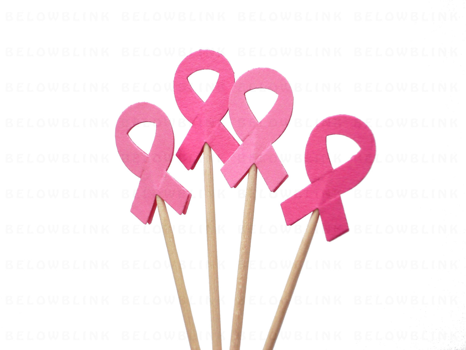1500x1125 24 Breast Cancer Awareness Pink Ribbon Cupcake Toppers