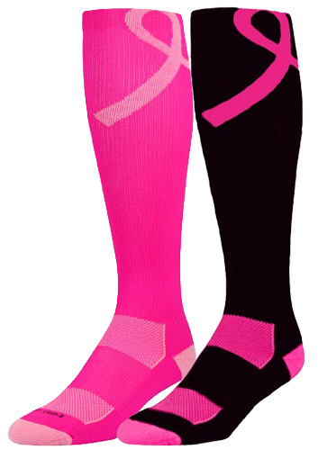 353x500 Pink Ribbon Breast Cancer Awareness Performance Knee High Socks