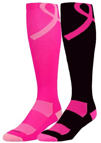 353x500 Pink Ribbon Breast Cancer Awareness Performance Knee High Socks