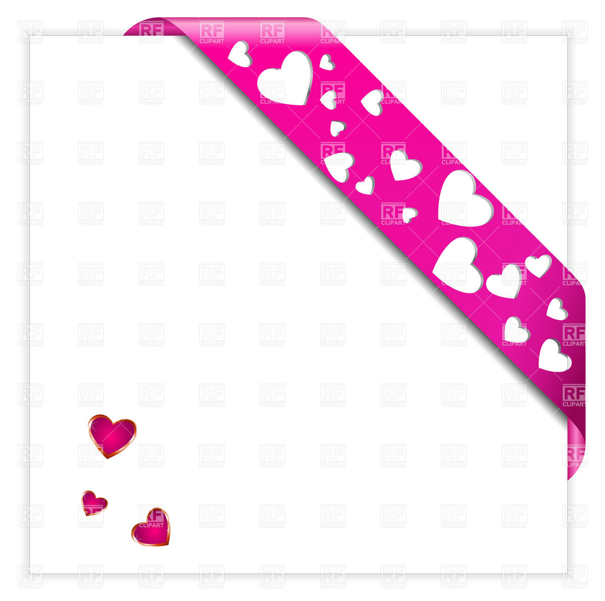 1200x1192 Heart Shaped Perforated Valentine Pink Corner Ribbon Royalty Free