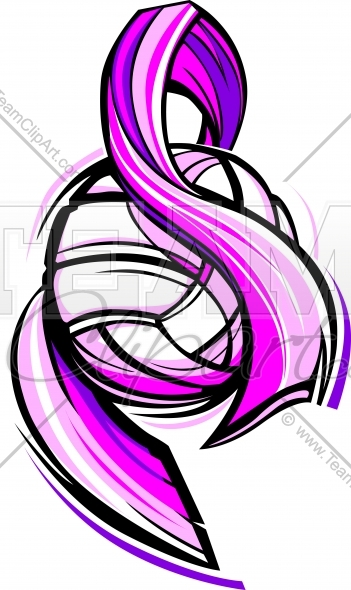 351x590 Breast Cancer Volleyball Art Pink Ribbon Image.
