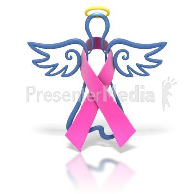 400x400 Angel Outline Hot Pink Ribbon