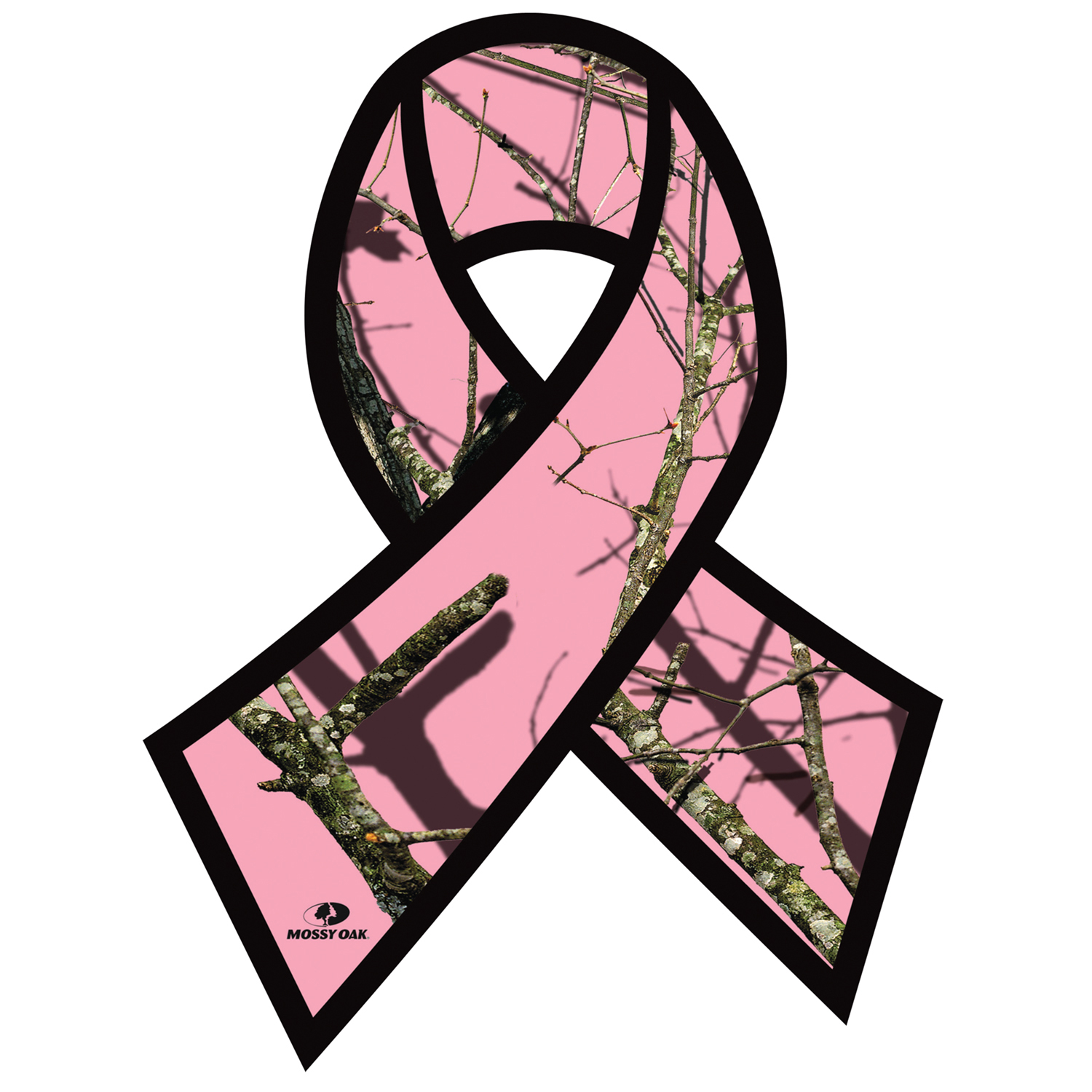 1500x1500 Mossy Oak Break Up Pink Camo Breast Cancer Awareness Ribbon Decal