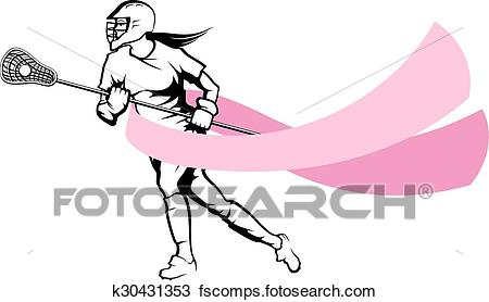 450x278 Clipart Of Female Lacrosse Player With Breast Cancer Ribbon