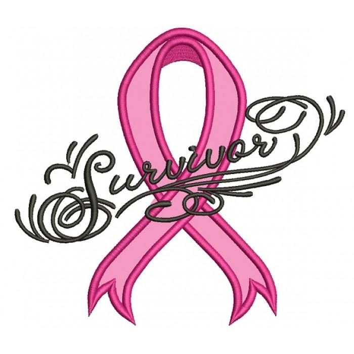 700x700 Breast Cancer Survivor Ribbon Applique Machine Embroidery Design