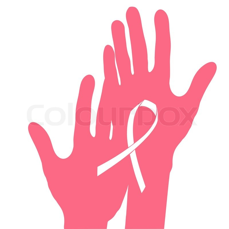 800x800 Hands Holding Breast Cancer Ribbon, Vector Illustration Stock