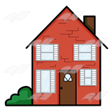 160x160 Abeka Clip Art Red Brick House With A Green Bush