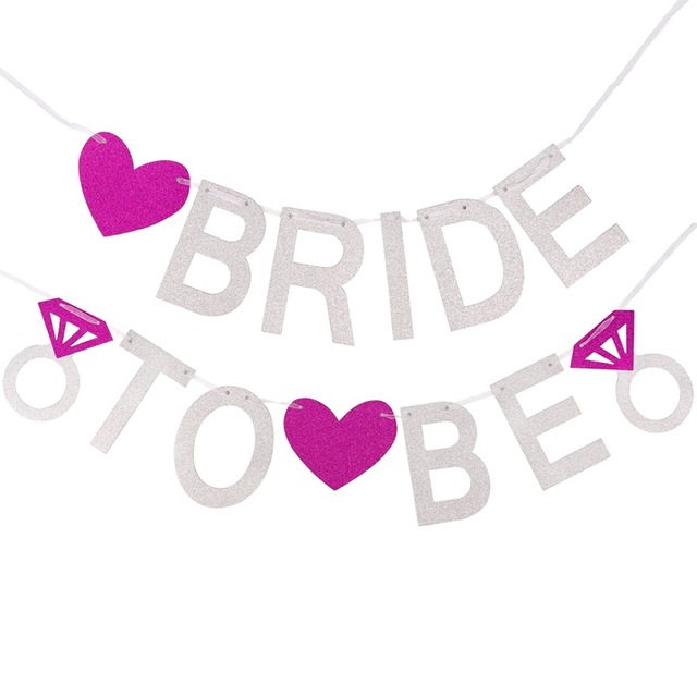 640x640 Fengrise Bride To Be Silver Glitter Garland Wedding Banner Bridal