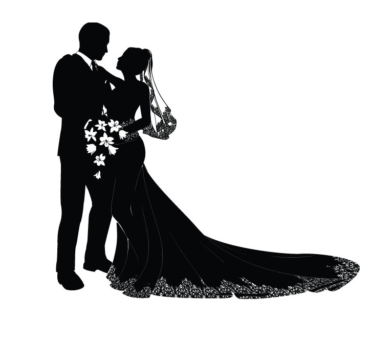766x671 Ceremony Clipart Bride And Groom Silhouette