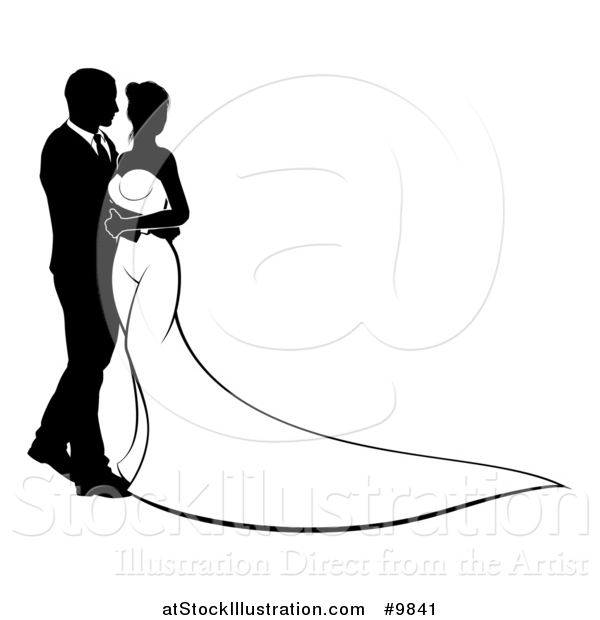 600x620 Vector Illustration Of A Silhouetted Black And White Posing Bride