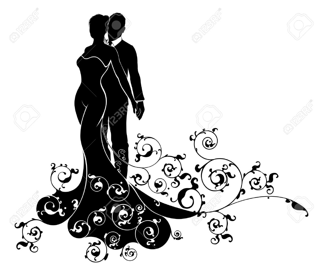 1300x1104 Bride And Groom Silhouette Clipart Black And White 11 Clipart