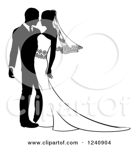 450x470 Black And White Groom And Bride Clipart