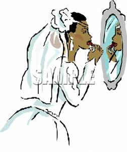 252x300 African American Bride Applying Lipstick In The Mirror Clip Art Image
