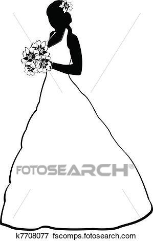 299x470 Clip Art Of Bride Silhouette K7708077