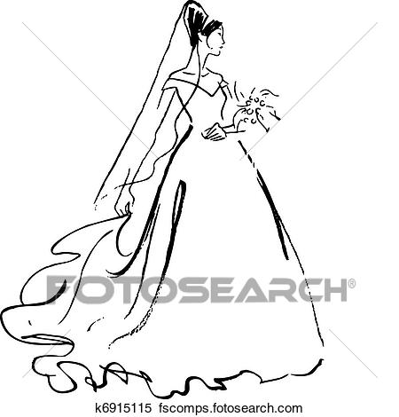 450x470 Clipart Of Bride Drawing K6915115