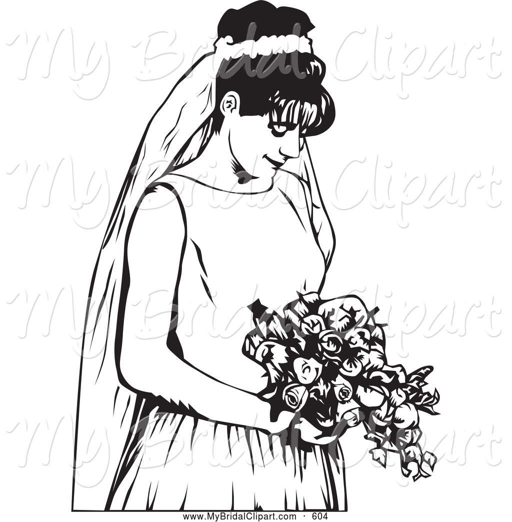 1024x1044 Bridal Clipart Of A Black And White Bride Waiting