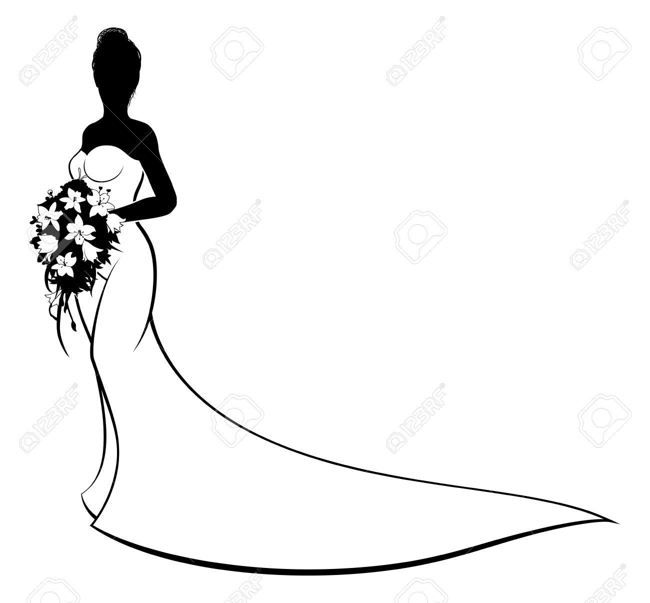 1300x1205 Bride Silhouette With White Bridal Dress Gown Holding A Floral