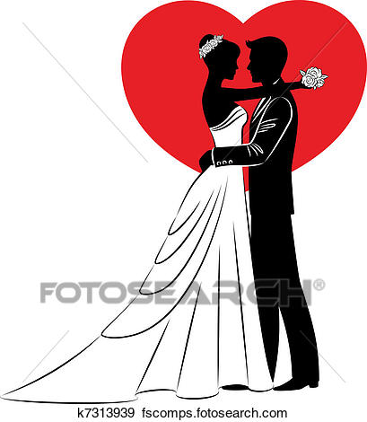 409x470 Clip Art Of Beautiful Bride And Groom K7313939
