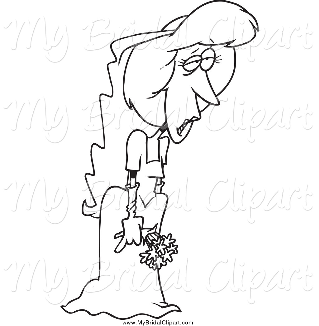 1024x1044 Bridal Clipart Of A Black And White Sad Deserted Bride By Toonaday