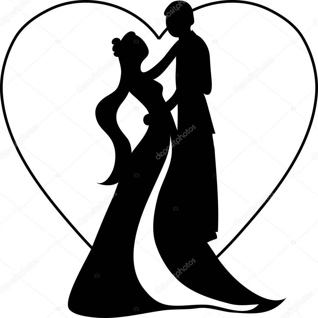 1021x1023 Clipart Illustration Of A Silhouetted Bride And Groom Dancing