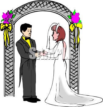 339x350 Royalty Free Clipart Image Bridend Groom Standing Under