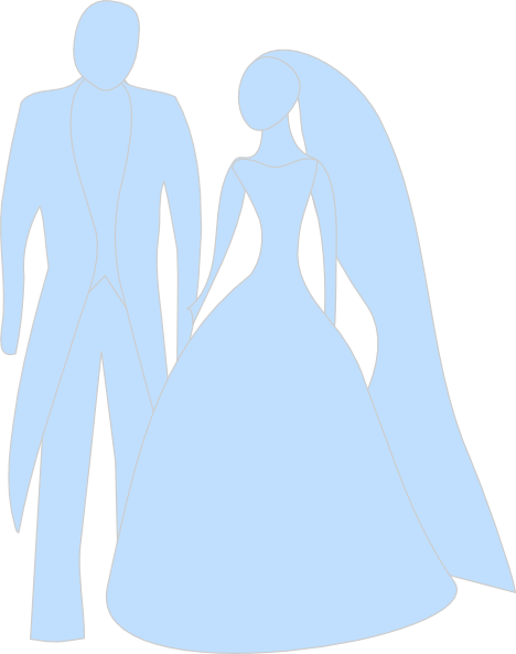 468x593 Blue Bride And Groom Clip Art