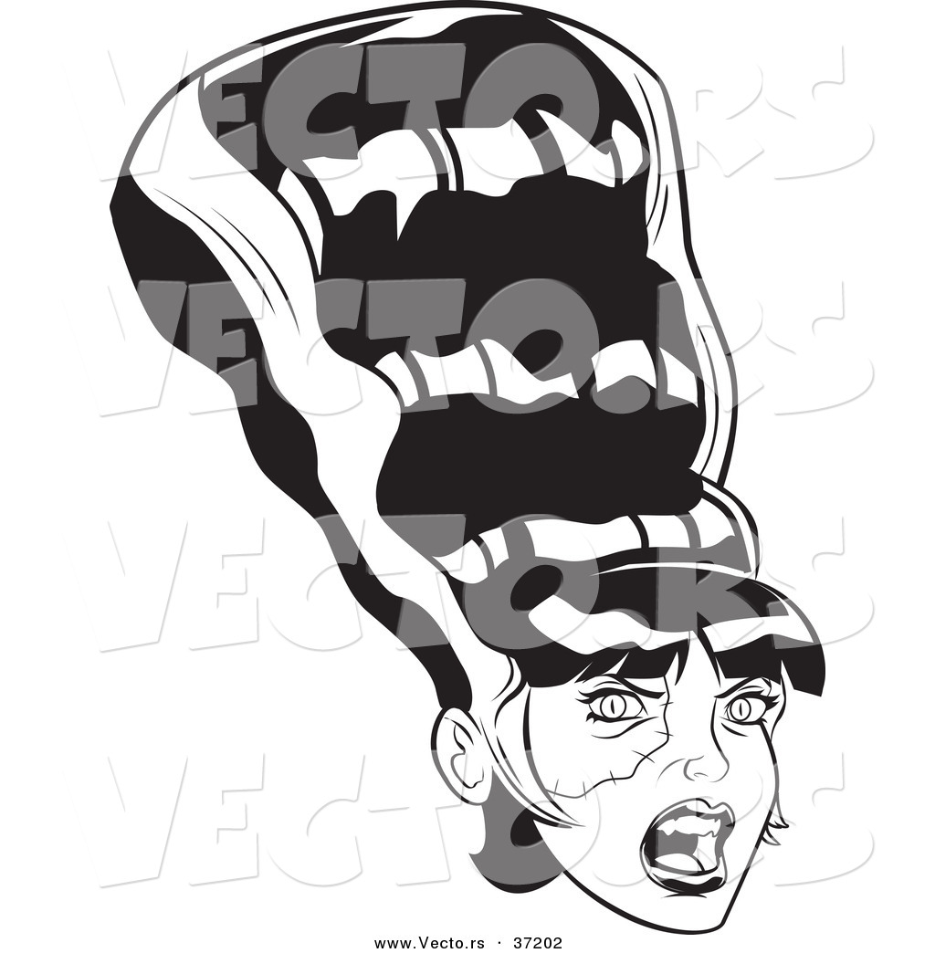 1024x1044 Vector Of A Frankenstein Bride With Conical Hair Design