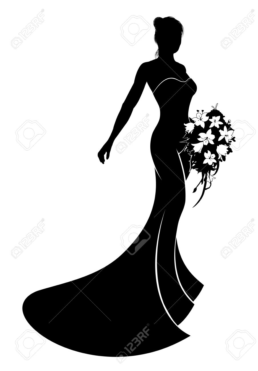 903x1300 Bride In Silhouette Wearing A Bridal Dress Wedding Gown Holding