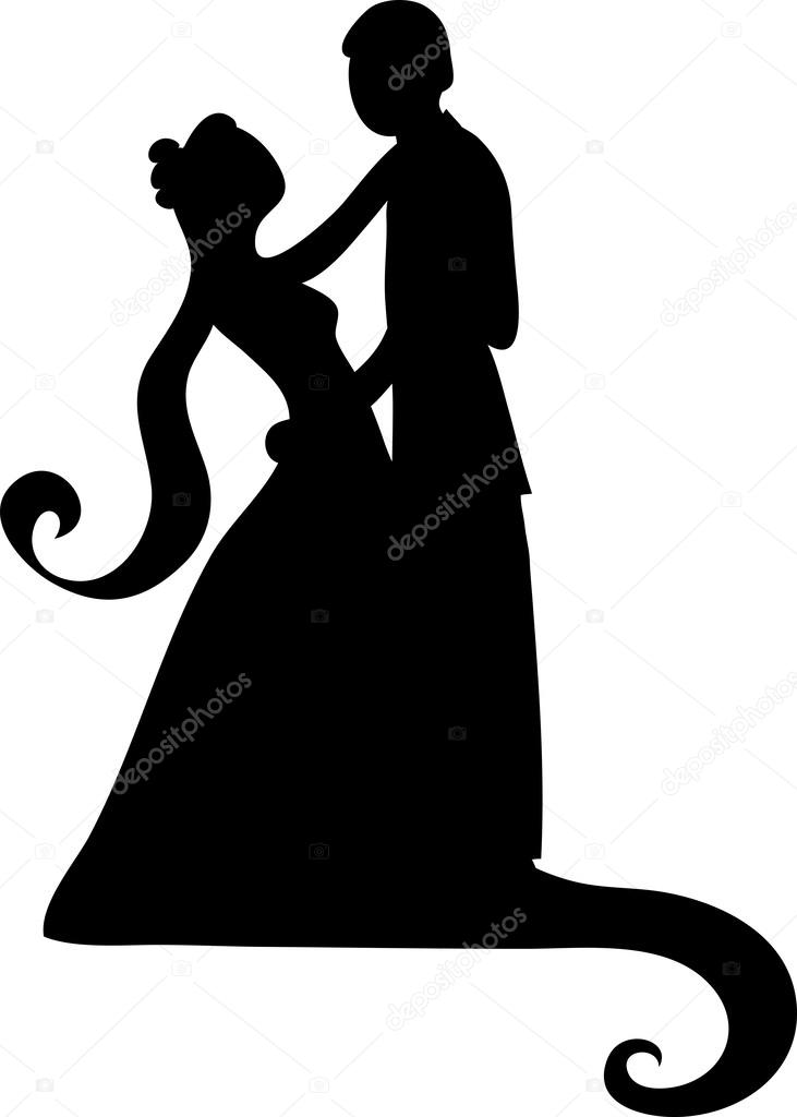731x1024 Clipart Illustration Of A Silhouetted Bride And Groom Dancing