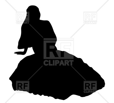 400x362 Silhouette Of Sitting Bride Royalty Free Vector Clip Art Image