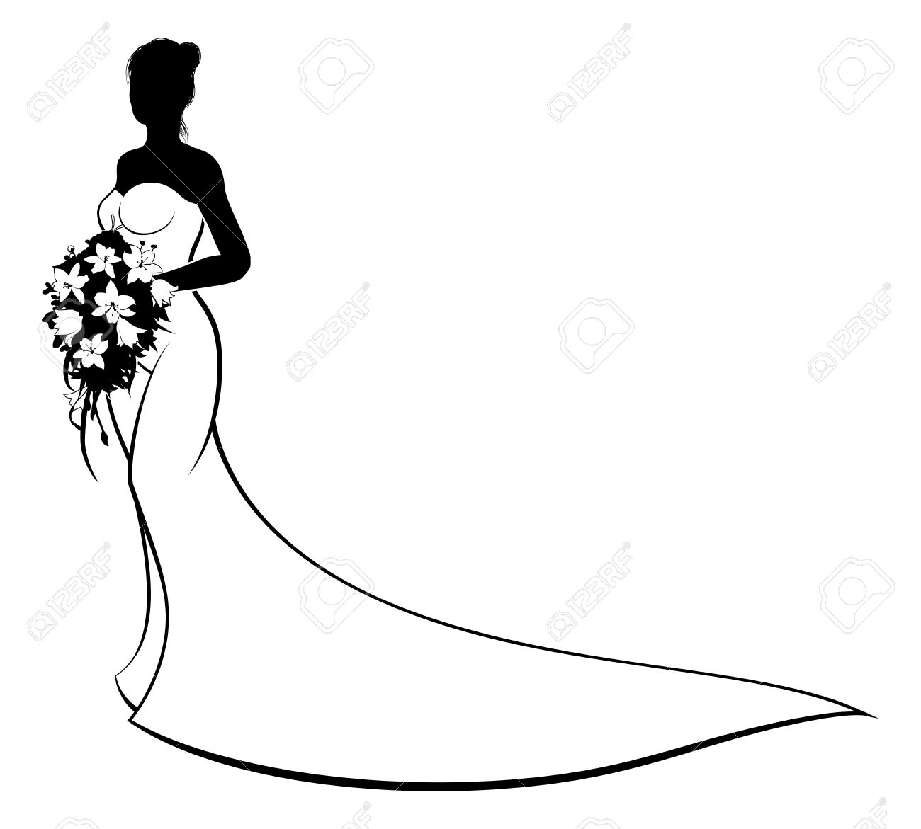 1300x1171 Wedding Concept Of Bride Silhouette In White Bridal Dress Gown