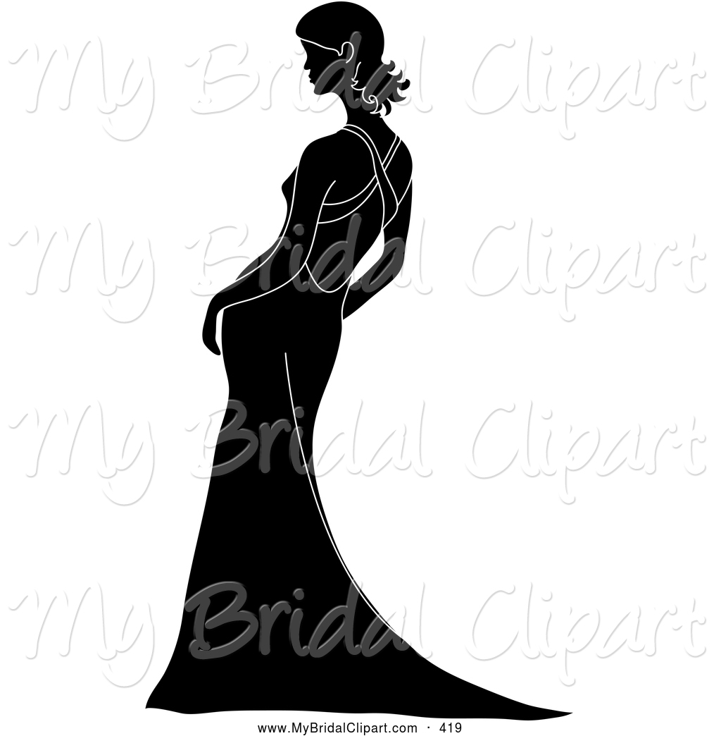 1024x1044 Bridal Clipart Of A Silhouetted Black Bride Leaning In Her Gown By