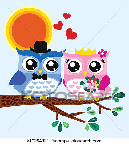 419x470 Clipart Of Owl Bride And Groom K10254821