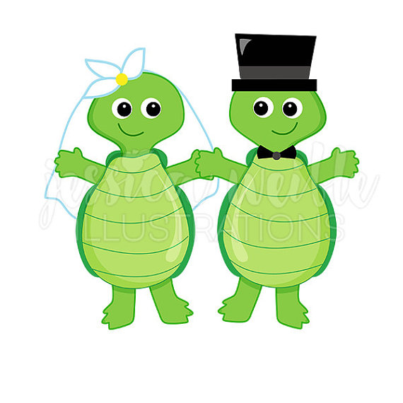 570x570 Wedding Turtles Cute Digital Clipart Bridal Clip Art Wedding