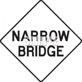 350x350 White Road Sign For Narrow Bridge