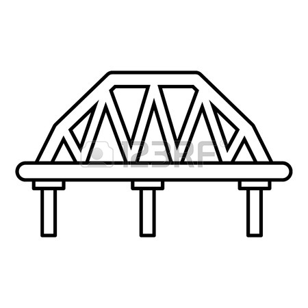450x450 Arched Train Bridge Icon. Outline Illustration Of Arched Train