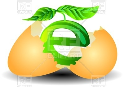 400x283 Broken Egg With The Ecological Symbol Inside And Plant Royalty