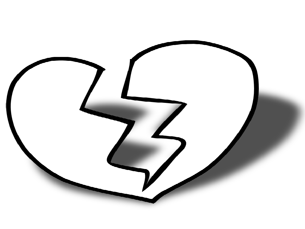 1024x768 Broken Heart Clipart Coloring Page