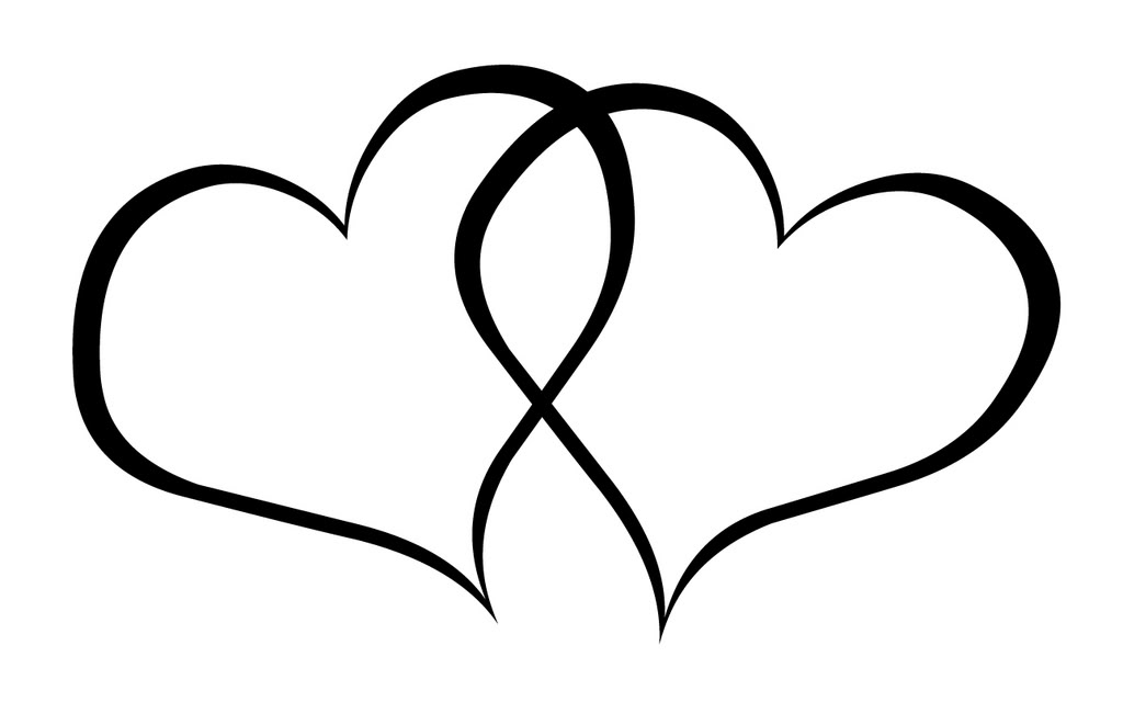 1024x640 Heart Black And White Double Heart Clipart Kid
