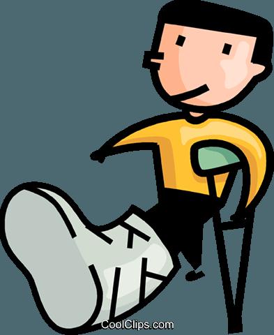 393x480 Boy With A Broken Leg Royalty Free Vector Clip Art Illustration