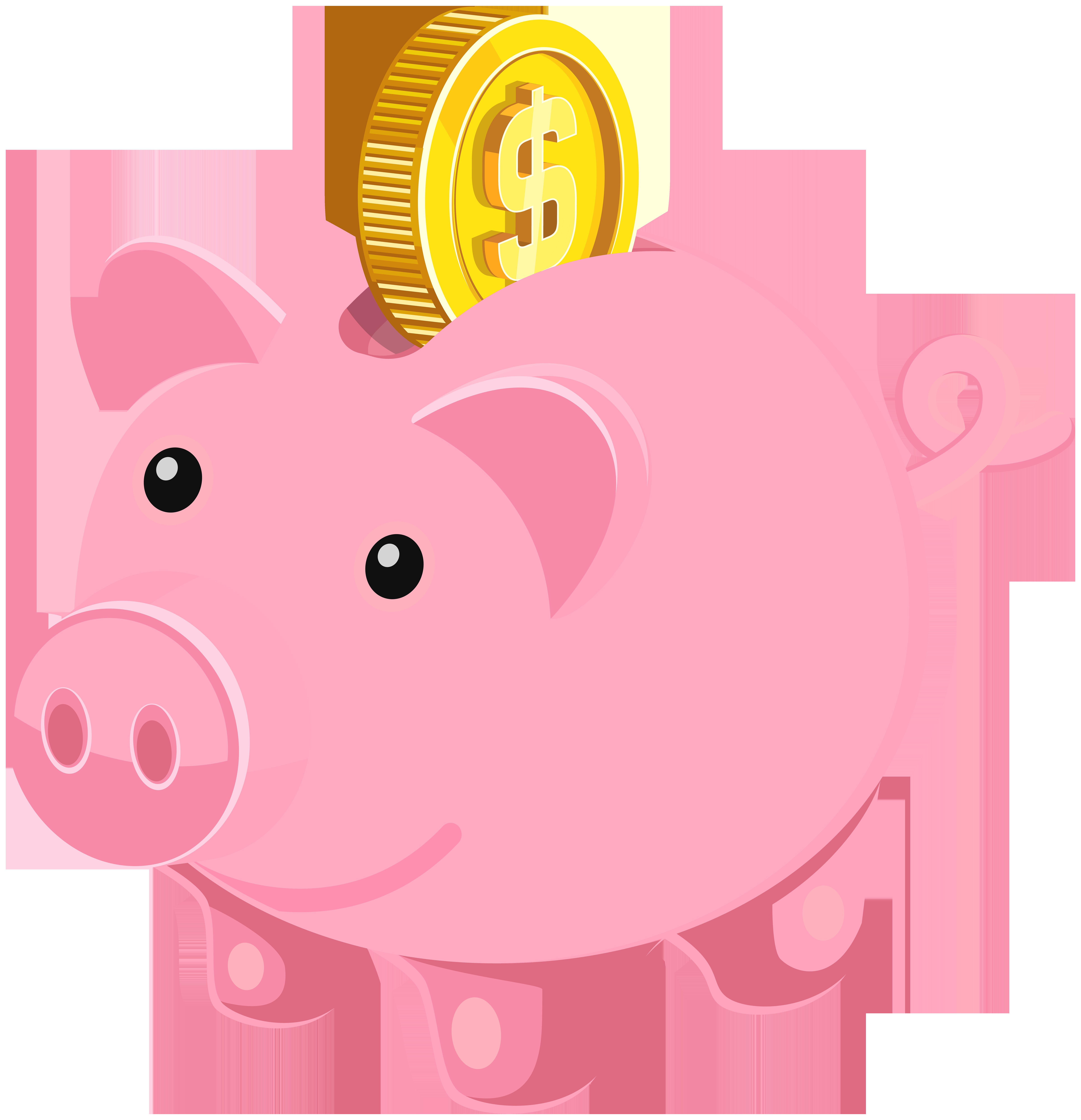 7721x8000 Cartoon Piggy Bank Clipart Example