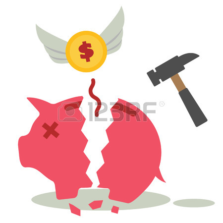 450x450 Bad Financial Habits. Breaking A Piggy Bank With Hammer Royalty