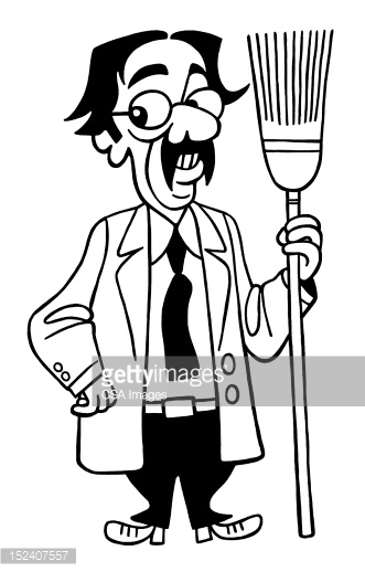331x518 Man Holding Broom Clipart Black And White, Free Man Holding Broom