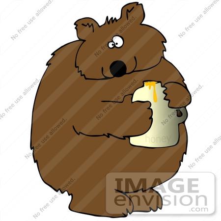 450x450 Clip Art Graphic Of A Cute Chubby Bear Holding A Jar Of Honey
