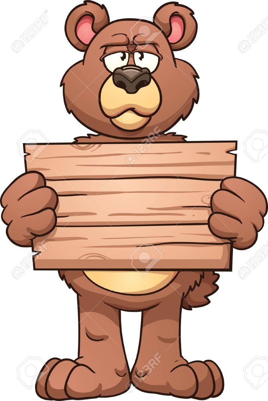 869x1300 Serious Cartoon Bear Holding A Wooden Sign Vector Clip Art