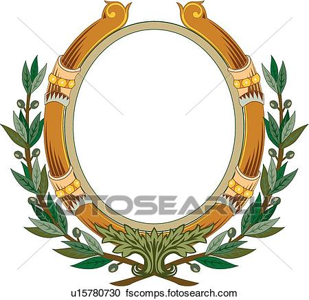 450x437 Clipart Of Brown Circle Frame With Green Leaf Decoration U15780730